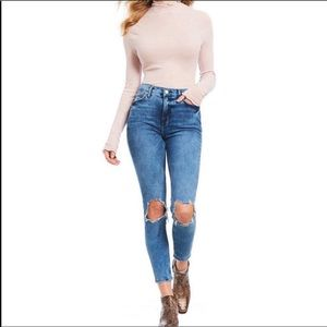 Free People High Rise Busted Knee Jeans -Size 24R